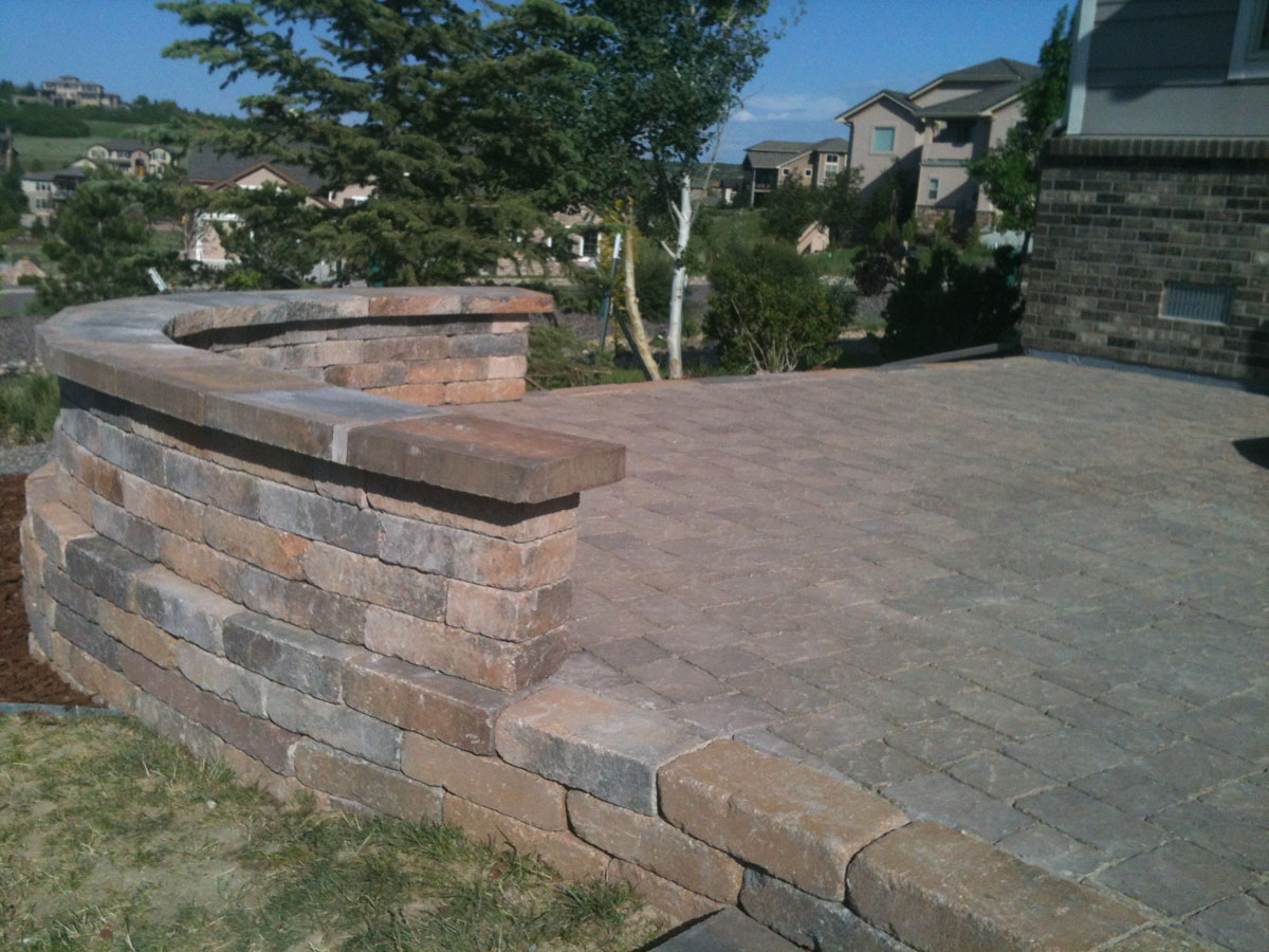 Paver Patio with a Seat Wall